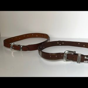 2 Leather Belts with Animal and gardening metal